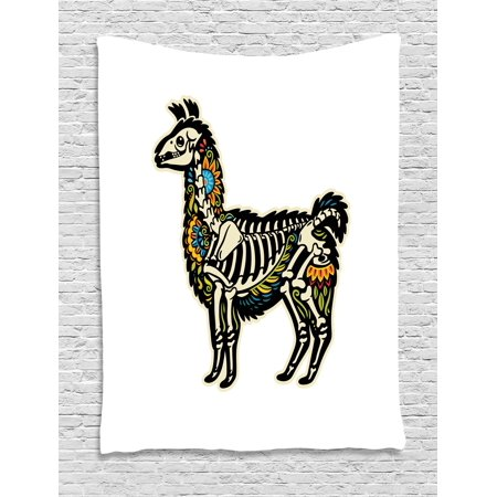 Llama Tapestry, Sugar Skull Style Alpaca Animal Skeleton and Colorful Floral Details Day of the Dead, Wall Hanging for Bedroom Living Room Dorm Decor, Multicolor, by Ambesonne ()