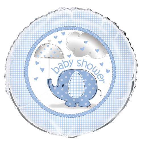 Blue Elephant Baby Shower 18 inch Foil Balloon