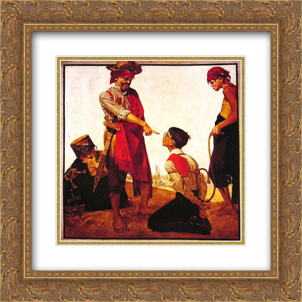 Norman Rockwell 2x Matted 20x20 Gold Ornate Framed Art Print 'Cousin Reginald Plays Pirate'