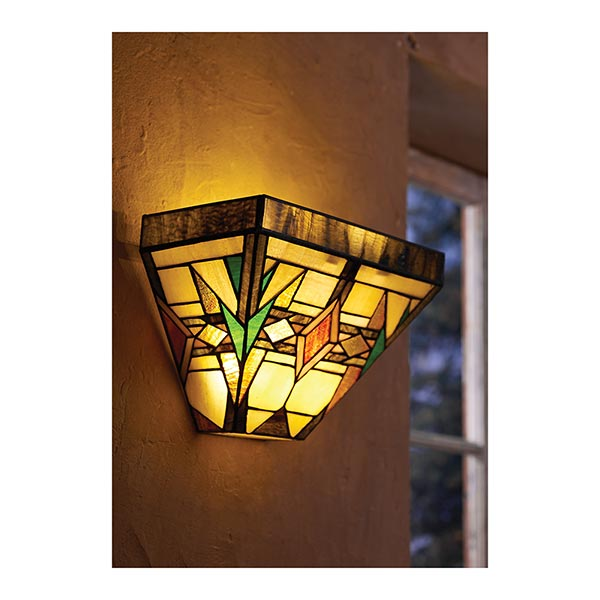 Mission Style Stained Glass LED Wall Sconce with Timer/Remote