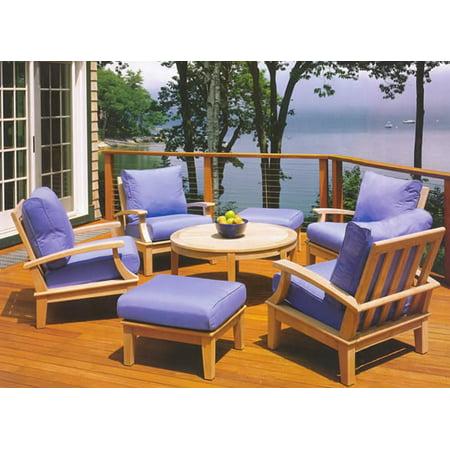 WholesaleTeak Outdoor Patio Grade-A Teak Wood 7 Piece Teak Sofa Set - 4 Lounge Chairs, 2 Ottomans and 35
