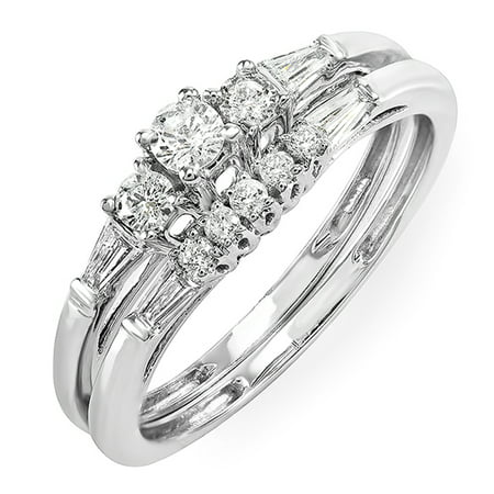 0.40 Carat (ctw) 10k White Gold Round & Baguette Cut Diamond Ladies Bridal Ring Engagement Set Diamond Ladies Bridal Set