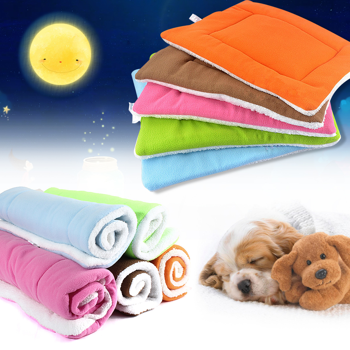 Dog Cat Pet Beds Washable Soft Comfortable Warm Bed Mat Padding House Sleep Crate Fleece Kennel Cushion Pet Blanket Bed, S M L XL Size