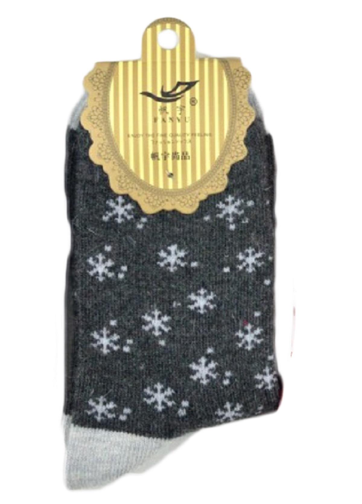 Lian Style 6 Pairs Big Girl's Angora Lambs Wool Socks Snowflakes Size L Casual(Beige)