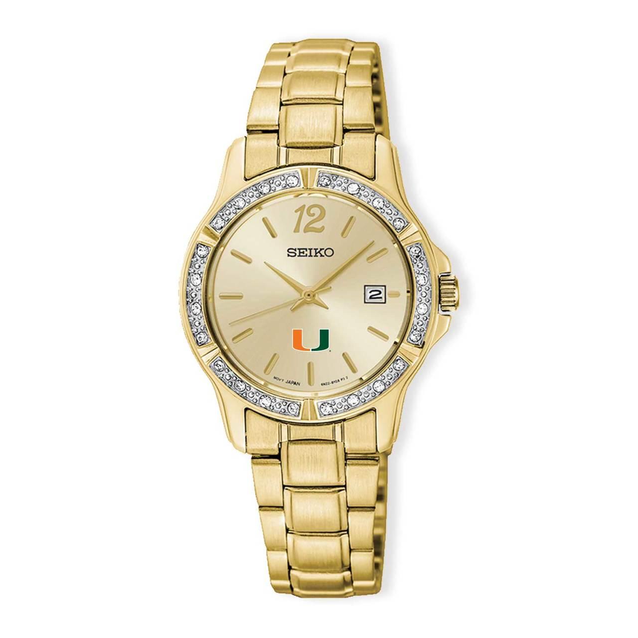 Miami Hurricanes Seiko Ladies` PRIME Gold-tone Crystal Watch