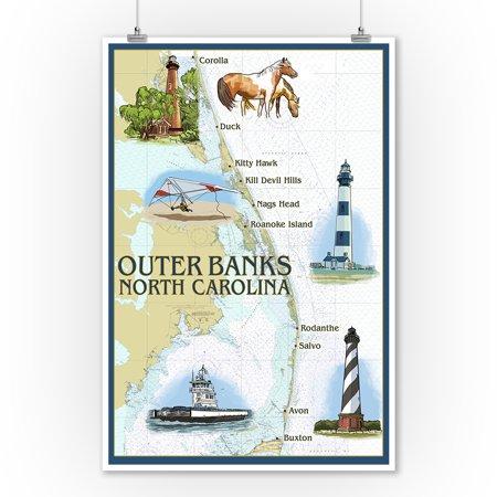 Outer Banks, North Carolina - Nautical Chart - Lantern Press Artwork (9x12 Art Print, Wall Decor Travel (Chart Art Poster)