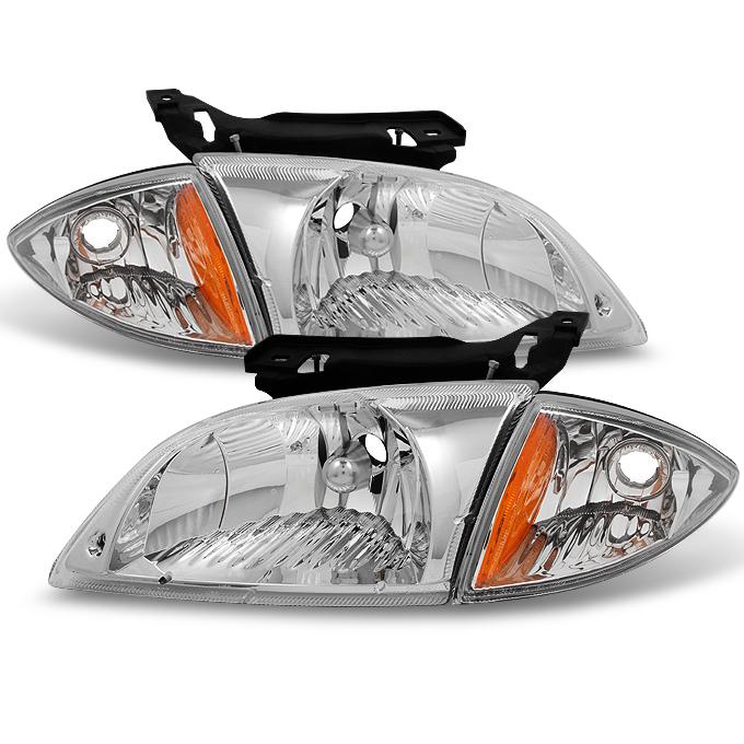 Fit 2000 2001 2002 Chevy Cavalier Headlights w/ Corner Signal Lights Lamps 4pcs