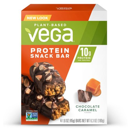 Vega Plant Protein Snack Bar, Chocolate Caramel, 10g Protein, 4 Ct (Snack Bar Ideas)