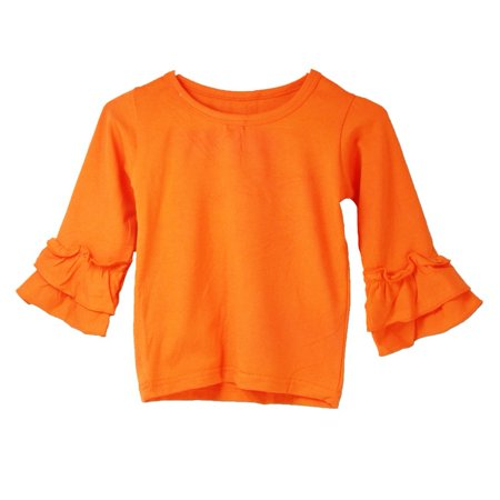 Girls Orange Double Tier Ruffle Sleeved Cotton Spandex Top - Young Girls Spandex