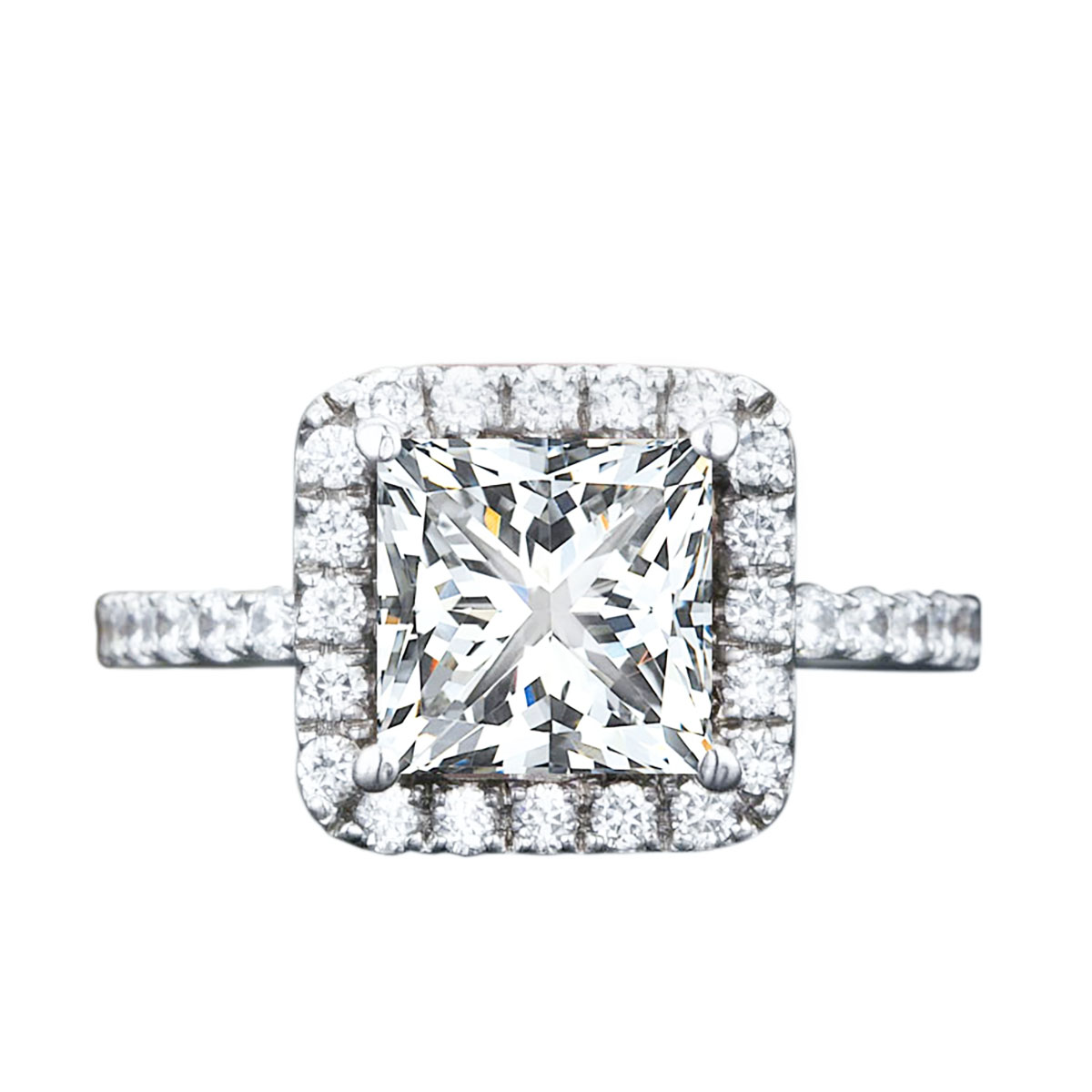 Jeenmata 2 Carat Princess Cut Moissanite And Diamond Halo Engagement Ring In 10k White Gold Walmart Com Walmart Com