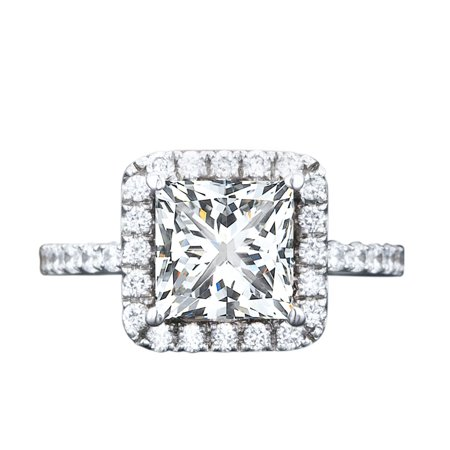 Moissanite Halo Ring (2 Carat Princess cut Moissanite and Diamond Halo Engagement Ring in White Gold )