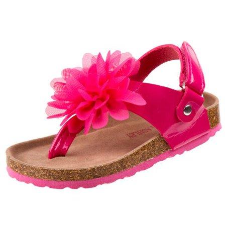 Laura Ashley O-LA81910EFUSP8 Cork Lining Sandals for Toddler Girls, Fuchsia - Size 8 (Laura Ashley Girls Wedge Sandal)