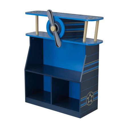 KidKraft Wooden Airplane Bookcase with Three Shelves and Spinning Propeller - Blue