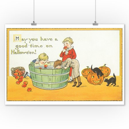 Halloween Scene of Kids Bobbing for Apples (9x12 Art Print, Wall Decor Travel Poster) (Bobbing Apples Halloween)
