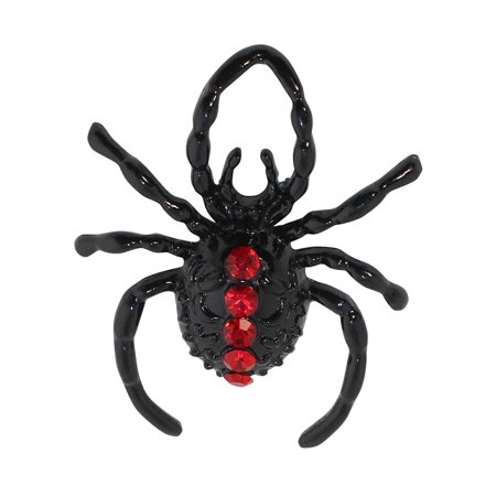 Halloween Spider Brooch with Red Rhinestones](Halloween Pins Craft)