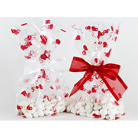 Valentines Hearts Cellophane Treat/Party Favor Bags with Red & White Twist-Tie Organza Bow Set of 10 Ready-to-Use Gussetted 11x5x3 Goodie Bags with Bows Red White - image 1 of 1