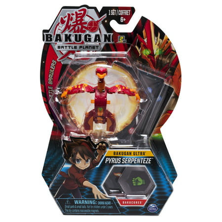 3 Inch Collectible - Bakugan Ultra, Pyrus Serpenteze, 3-inch Collectible Action Figure and Trading Card, for Ages 6 and Up