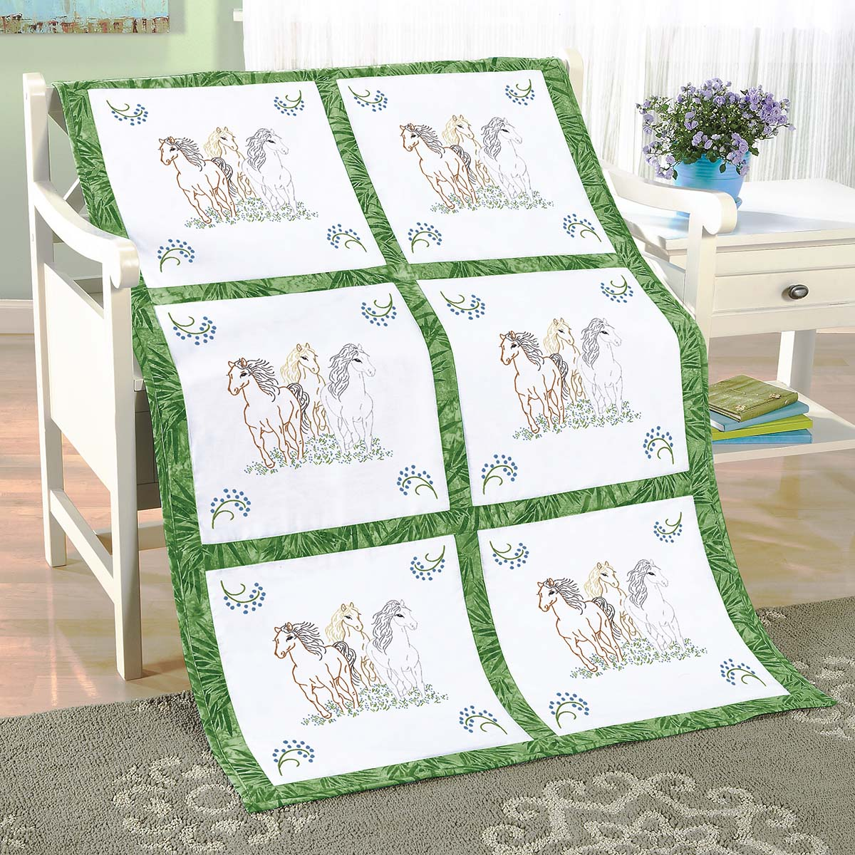 Herrschners® Running Free Quilt Blocks Stamped Embroidery