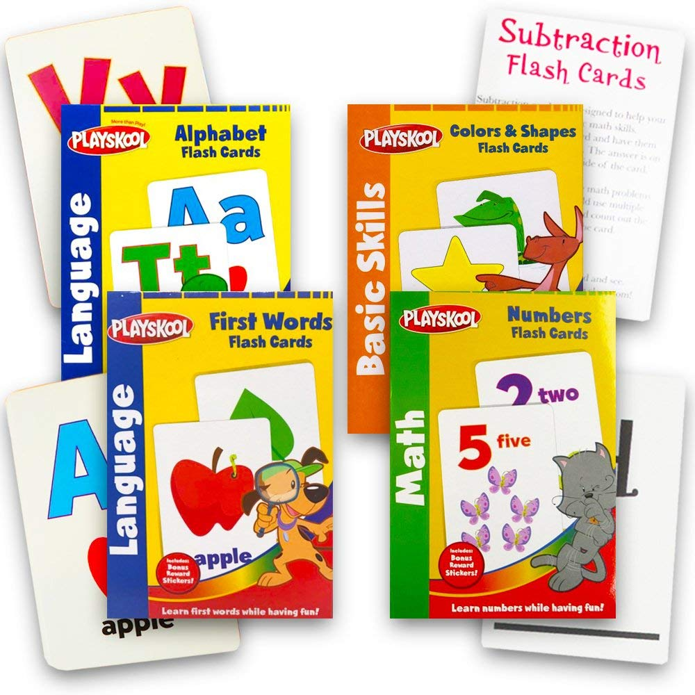 4 Pack 1st Grade Math Flash Cards with Stickers by Playskool