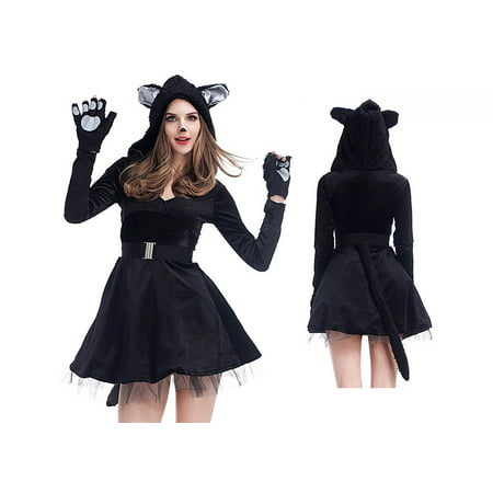Simple Black Cat Costume (Women's Deluxe Black Feline Sexy Cat Dress Costume 4 Piece set)