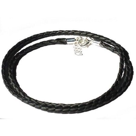 Braided Leather Bolo (065-513 New Black Braided Leather 24 Inch 3m Necklace Cord With Extender )