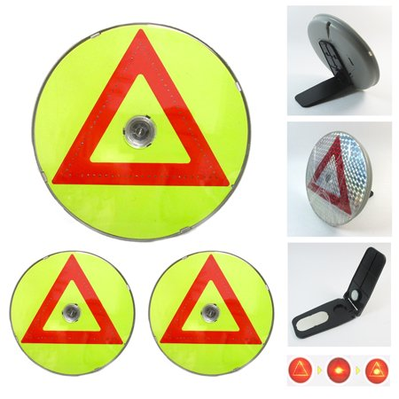 3X Car Triangles Safety Warning Parking Sign LED Reflective Road Emergency Flash