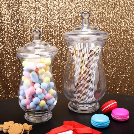 Apothecary Jars Cheap (Efavormart 2 Pack | Clear Glass Apothecary Jars Candy Buffet Containers with Lids For Wedding Party Favor Decor -)