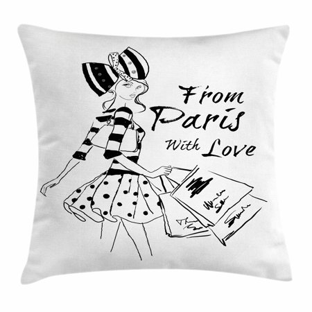 Paris Throw Pillow Cushion Cover, From Paris with Love Fashion Hand Drawn Girl Figure Shopping Polka Dot Design Skirt, Decorative Square Accent Pillow Case, 18 X 18 Inches, Black White, by Ambesonne