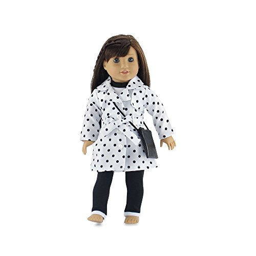 18 Inch Doll Clothes | Stylish Polka-Dot Trench Coat Outfit, Includes T-Shirt, Leggings... by Emily Rose Doll Clothes