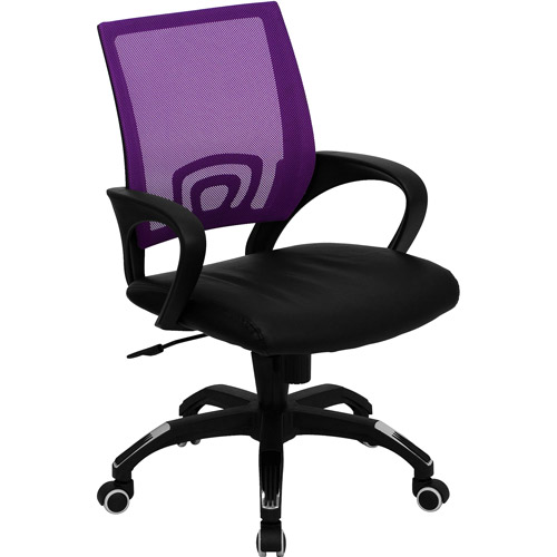 Mesh Office Chair with Leather Seat, Multiple Colors