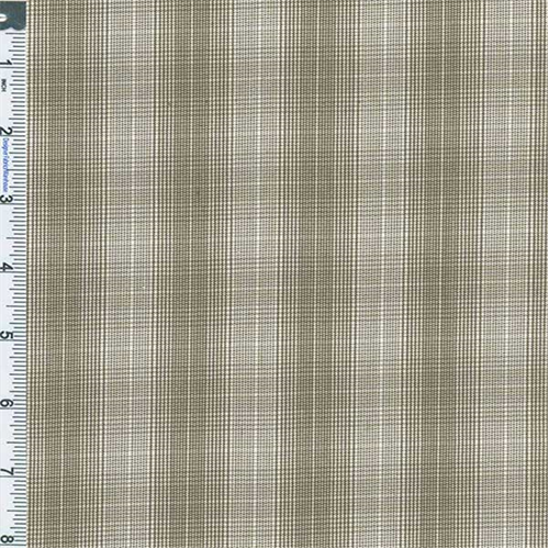 Ecru Yarn Dyed Plaid Shirting, Fabric By the Yard