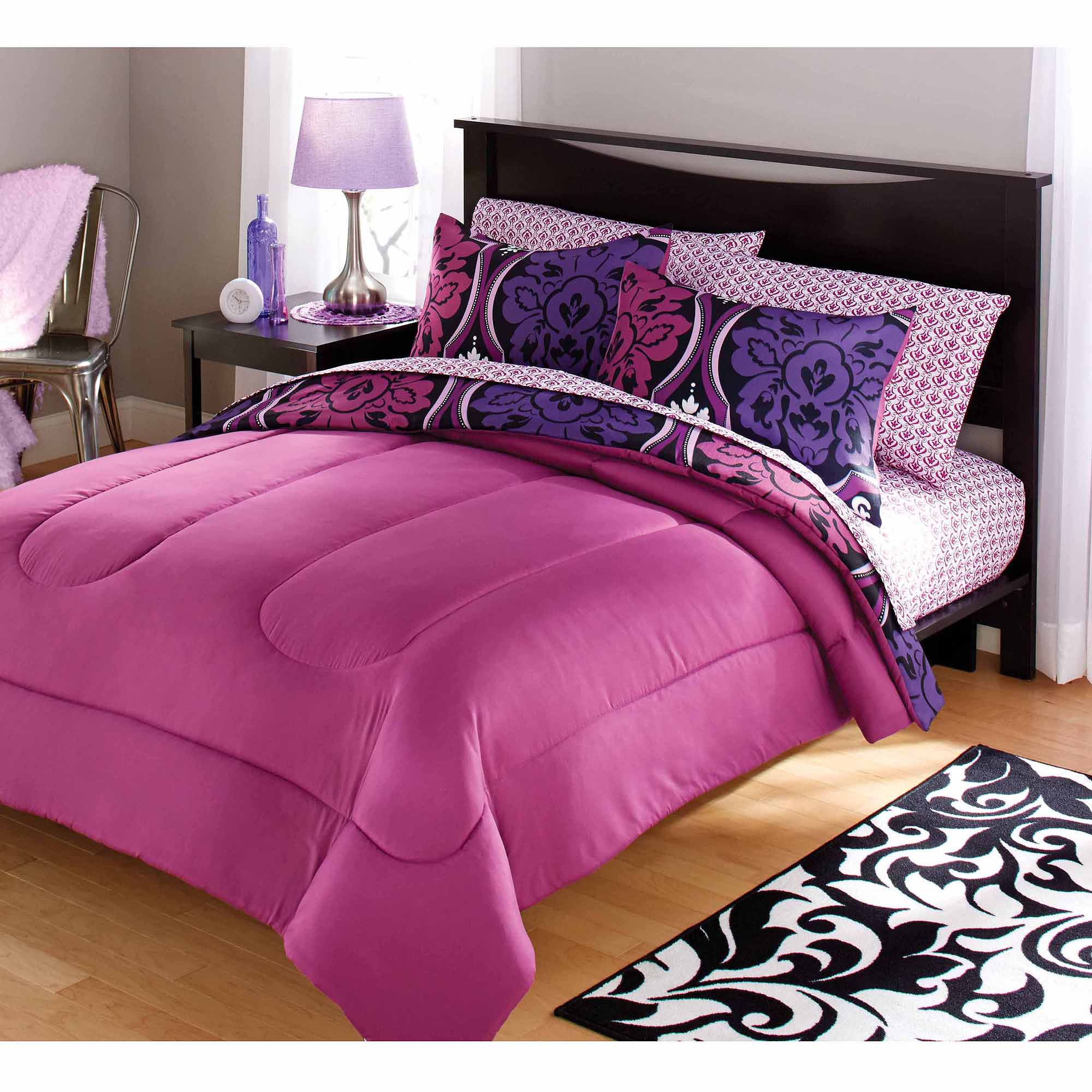 your zone dotted damask bedding comforter set, purple