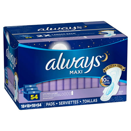 Always Maxi Extra Heavy Overnight Pads, 54-count