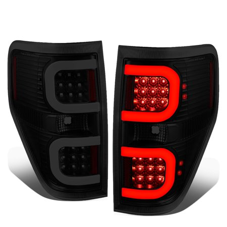 For 2009 to 2014 Ford F150 Pair Dual LED C -Bar Tube Tail Light Rear Brake Lamps Black /