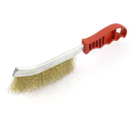 Unique Bargains 25cm Long Red Handle Gold Tone Steel Bristle Cleaning Wire Brush