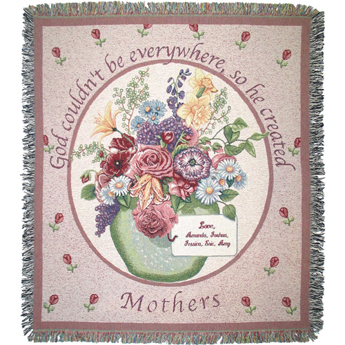 "Personalized Mother's 50"" x 60"" Tapestry Throw, Floral"