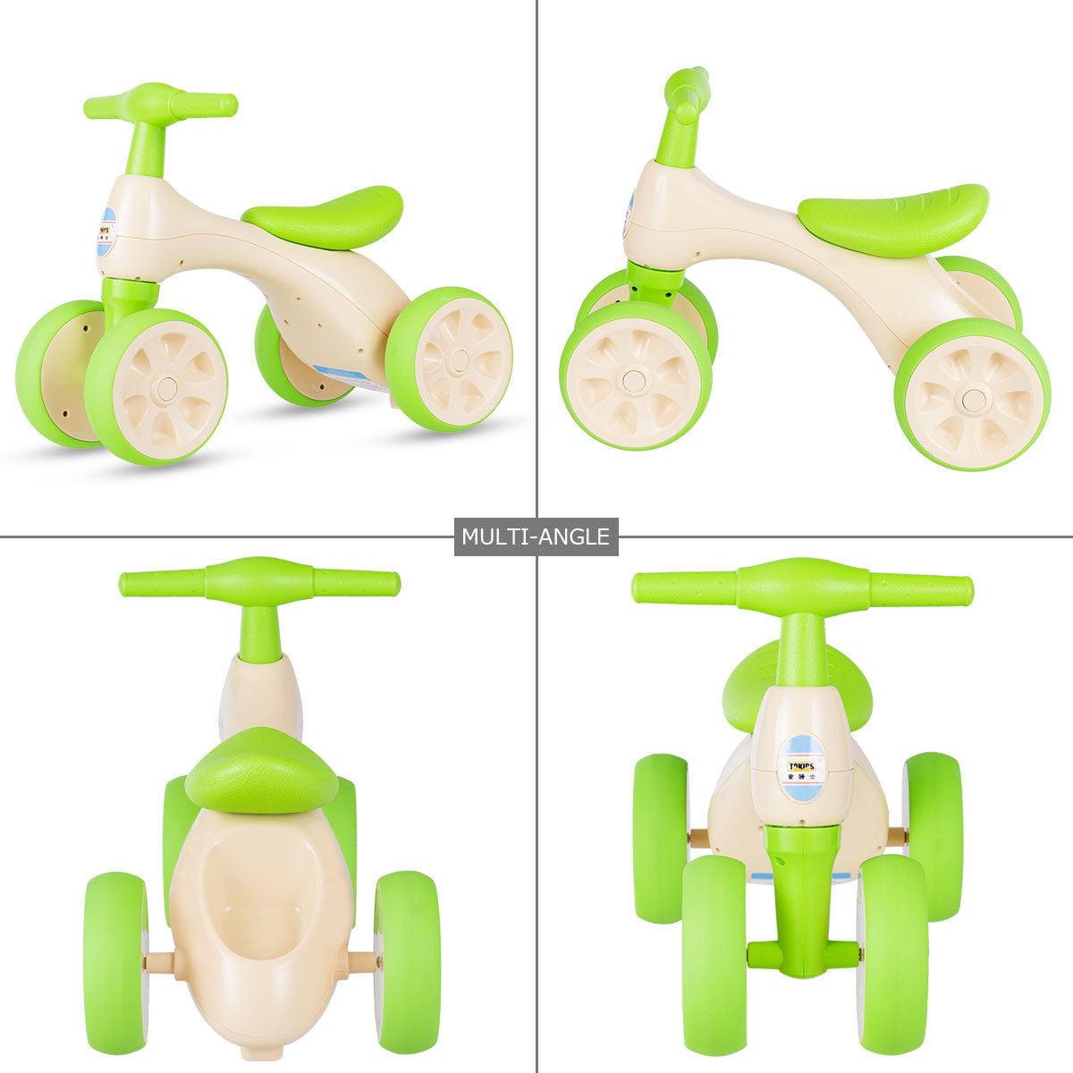 Costway Baby Balance Bike No Pedal Bicycle Children Walker 4 Wheels w/ Sound & Storage - image 7 de 10