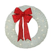 """36"""" Pre-Lit White and Red Outdoor Christmas Wreath - Warm White LED Lights"""