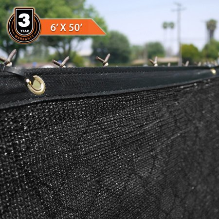Clevr 6' x 50' Fence Wind Privacy Screen Mesh Commercial Cover with Grommets, Black |3 Year Limited Warranty