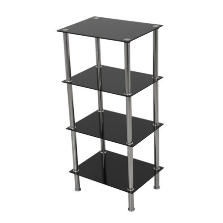 Preston Glass Shelf - AVF Small 4-Shelf Unit, Black Glass and Chrome, S44-A