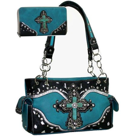 Gold Rush CRL677SET-TQ Women Studded Western Camouflage Shoulder Bag with Matching Wallet - Turquoise (Camouflage Purse And Wallet Sets)