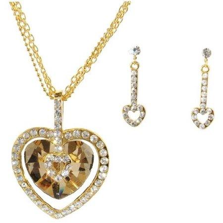 Copper Crystal Earrings - Crystal Heart Necklace & Earring Set