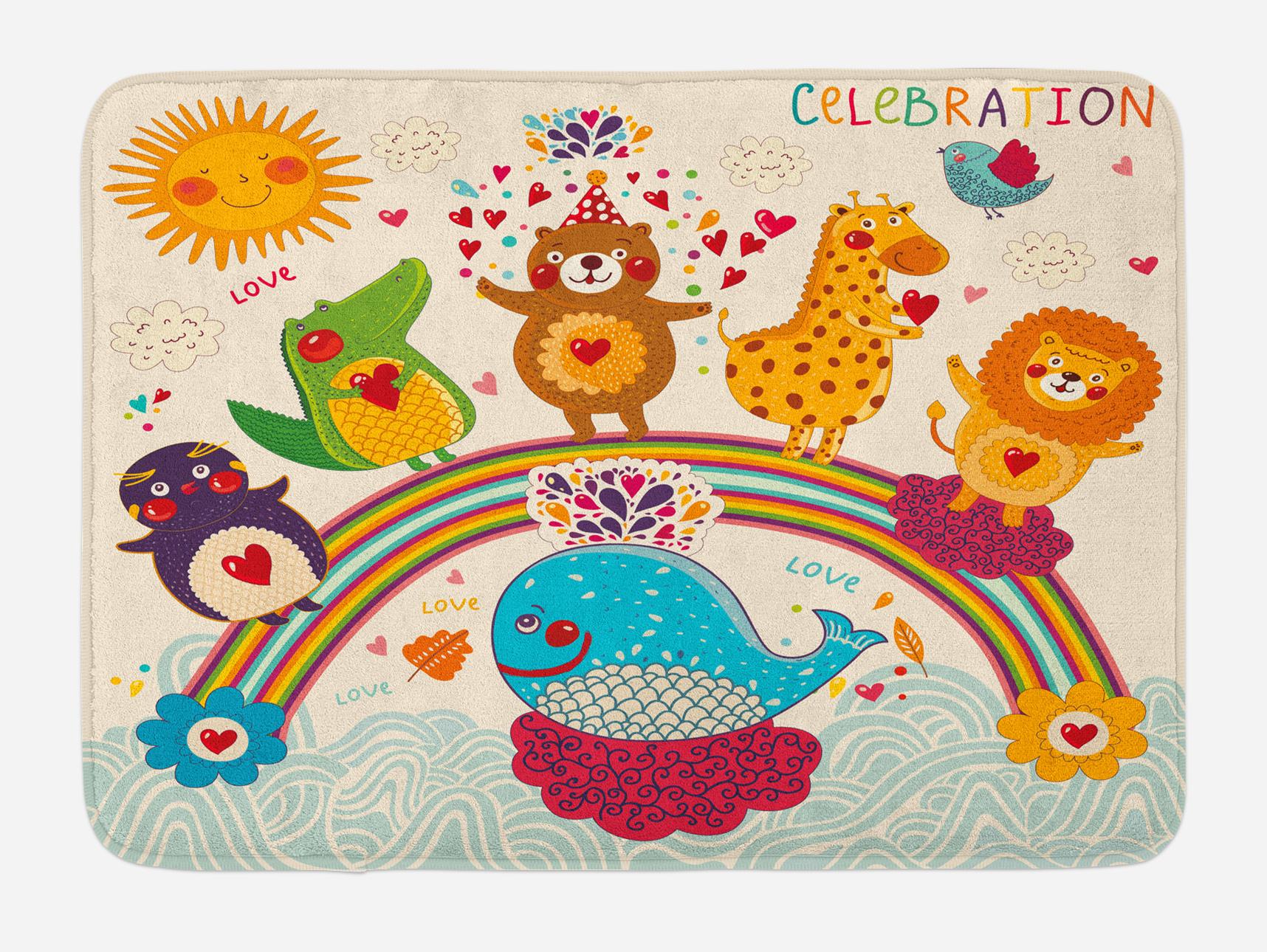 Kids Birthday Bath Mat, Hand Drawn Style Tropical Wild Animals and Whale on a Rainbow... by 3decor llc