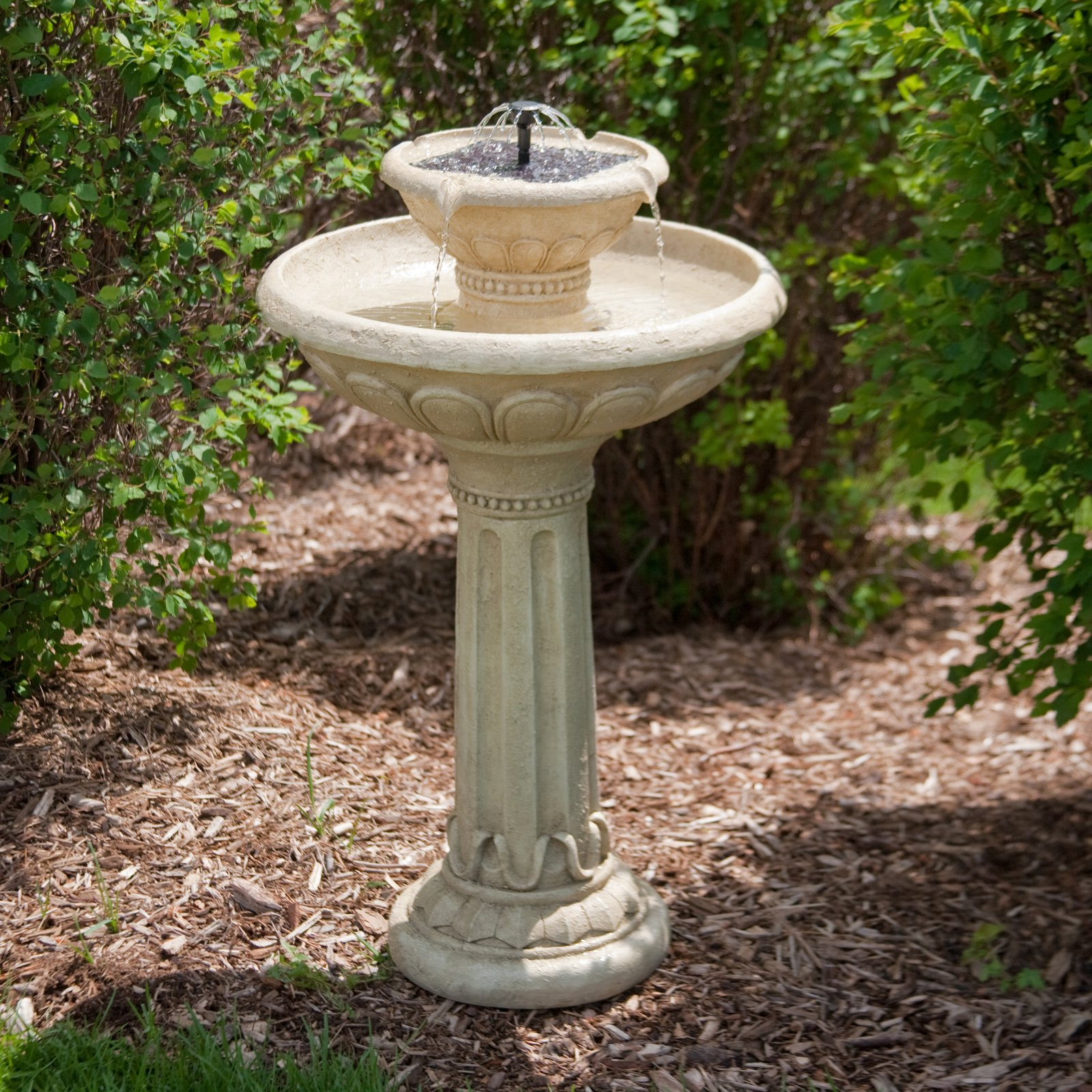 Smart Solar Kensington Gardens 2-Tier Solar Birdbath Fountain by