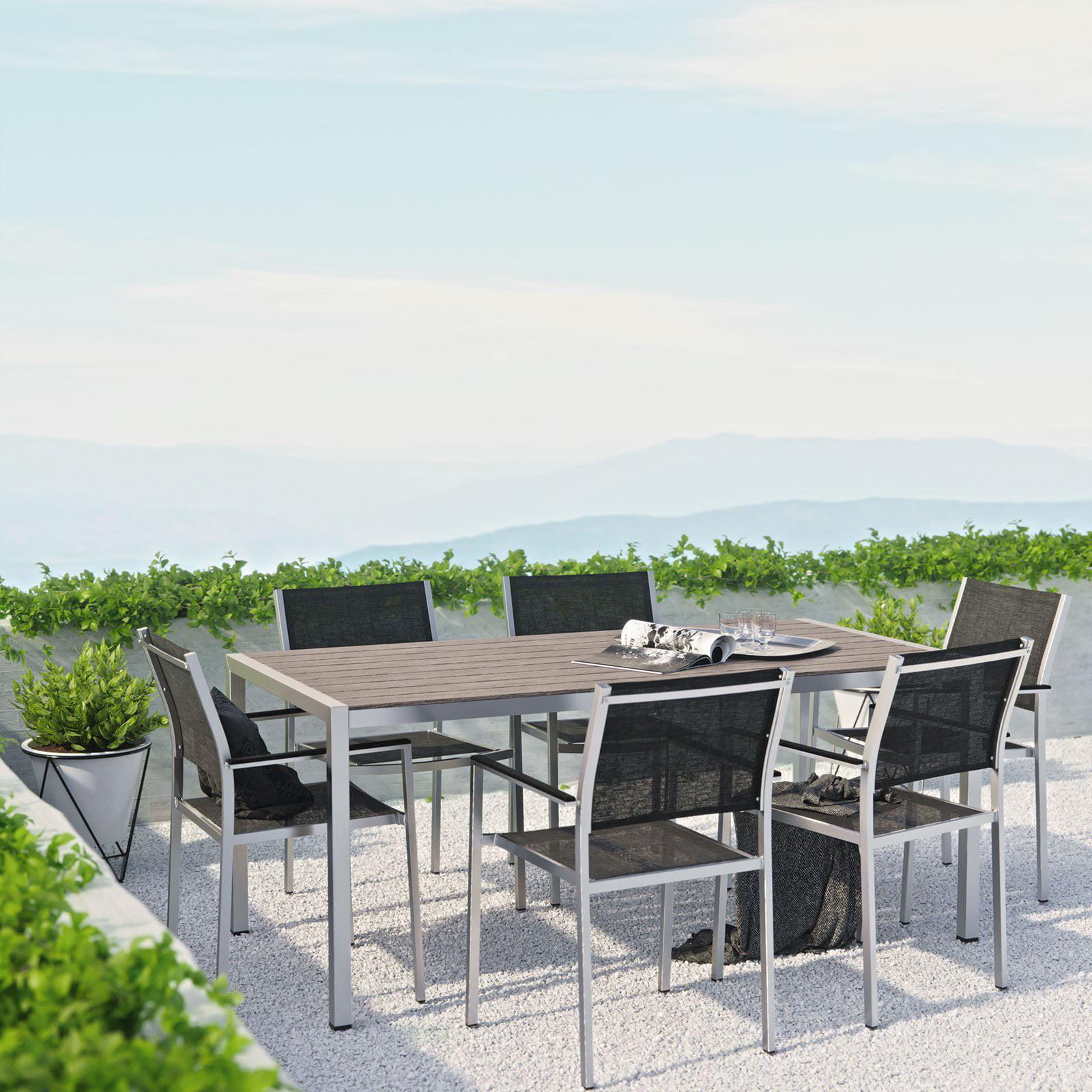 Modway Shore 7 Piece Outdoor Patio Aluminum Dining Set in Silver Black