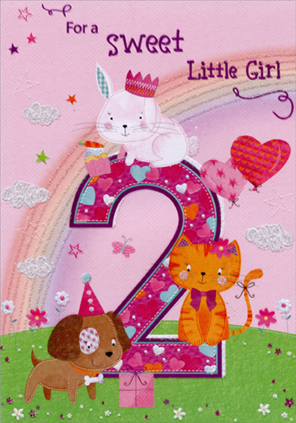 designer greetings bunny kitten and puppy with rainbow