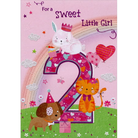 Designer Greetings Bunny, Kitten and Puppy with Rainbow Age 2 / 2nd Birthday Card for Girl