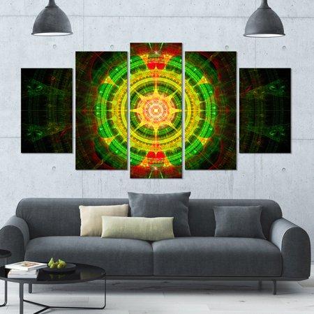 DESIGN ART Designart 'Bright Green Fractal Sphere' Abstract Wall Art Canvas - 60x32 - 5 Panels Diamond Shape