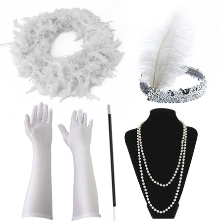 Dead Gangster Halloween Costumes (Halloween Flapper Girl Fancy Dress Accessories 5 PCS Set Charleston Gangster Gatsby Girl Costume)