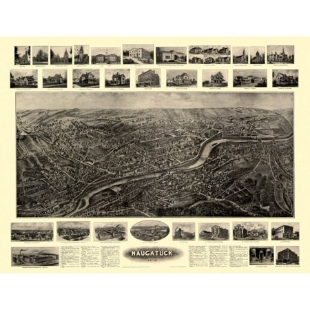 Historic Map of Naugatuck Connecticut 1906 New Haven County Canvas Art -  (24 x 36)